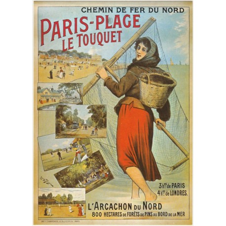 carte postale ancienne fran aise affiche publicitaire vintage chemin de fer du nord paris plage. Black Bedroom Furniture Sets. Home Design Ideas