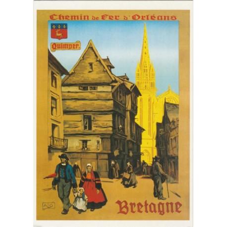 Carte Postale Chemin de Fer d'Orléans Quimper Bretagne