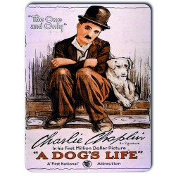 Plaque métal Charlie Chaplin Film A Dog's Life