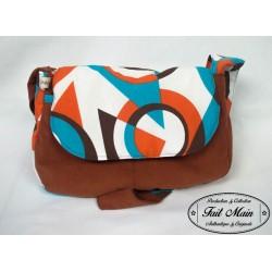Sac Besace Molletonné Velours rouille et toile coton orange/bleu/marron