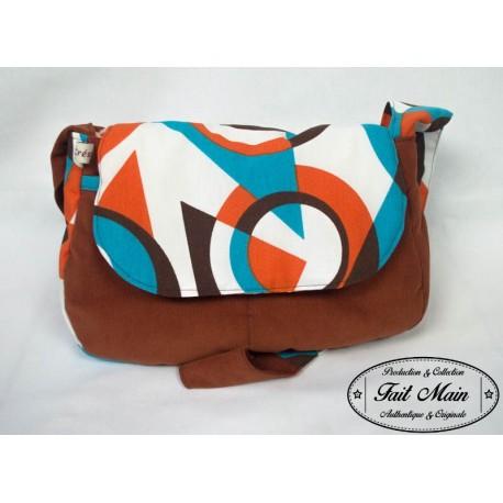 Handbag Sac Besace Molletonné Velours rouille et toile coton orange/bleu/marron