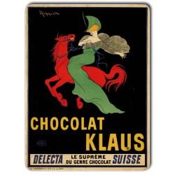 Plaque métal vintage Chocolat Klaus