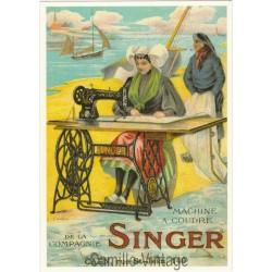 Carte Postale Machine à Coudre Singer