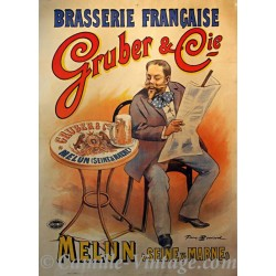 Poster Vintage Brasserie Gruber&Cie