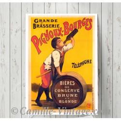 Poster Vintage Grande Brasserie Pignoux France