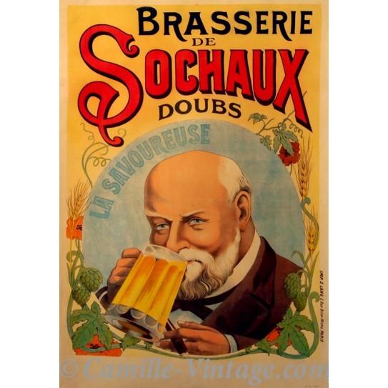 Poster Vintage Brasserie de Sochaux Bière La Savoureuse