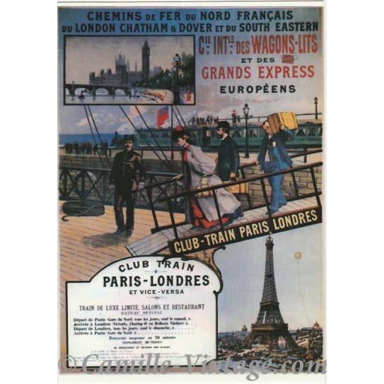 Postcard Club Train Paris-Londres