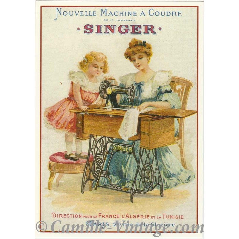 postcard french advertising nouvelle machine coudre singer. Black Bedroom Furniture Sets. Home Design Ideas